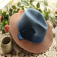 New 2014 summer Autumn Casual Bow women's Fedora hat fashion Straw caps for women high quality Sun Hats 9 Colors Free shipping