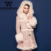 2014 Winter Women Real Lamb Fur-Lined Coat Double-Faced Fur Jacket With Lamb Fur Hooded Beige Long Genuine Sheepskin Shearling