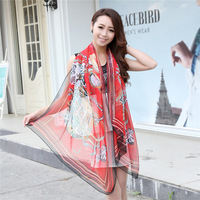 wommen silk scarf 50g free shipping 2014 new arrival Colorful chain sunscreen super quality slippery  Wraps long scarves