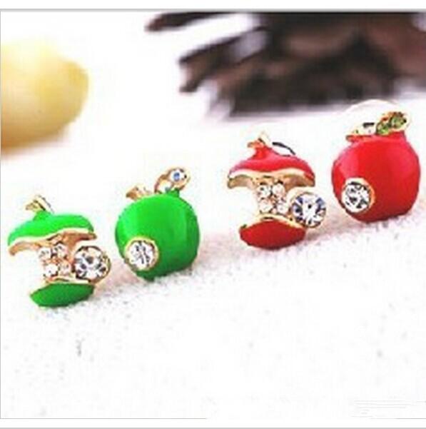 (Red\Green) Rhinestone Apple Earrings jewelry Wholesal ED13(China (Mainland))