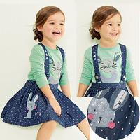 Children girls autumn clothing set . long sleeve shirt + denim suspender dress casual kid girl costume clothes