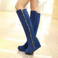 Factory Discount 2014 sexy winter wedges flock knee high boots for women snow fur shoes high heels platform women boots big size