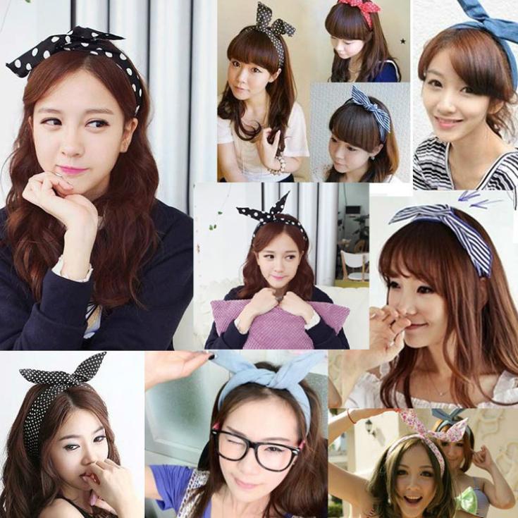 Cute Bunny Ear Elastic Hair Ties Ropes Camellias/Spots Decorated Rubber Bands Fashion Hair Accessories Headwear-0050\ru(China (Mainland))
