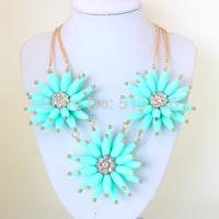 2014 Big Fashion Gold double Chain 3pcs chrysanthemum Flower Necklaces Statement Jewelry  KK-SC633