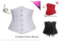 espartilho S-XXXXXXL plus size lingerie waist training cincher Jacquard Underbust Corset with 24 Steel Bones back lacing tight