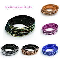 women Bracelet 2014 New Fashion punk Aliexpress hot rhinestones crystal 6 Layer Charm Leather Bracelets for women jewelry W6B1
