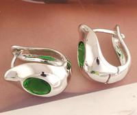 Fashion 1pair sterling silver Cute Green CZ Womens U-shaped hoop earrings
