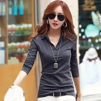 2014 Women V-neck Shirt Autumn and Winter T-shirt Female Long-sleeve Lady V-neck Tops