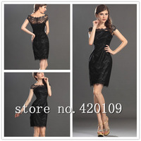 2014 New Arrival sexy mini sheath cocktail dresses high quality lace black summer dresses free shipping