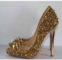 Top quality rhinestone crystal rivets spikes glittered high heels pointed toes bridal pumps women gold silver wedding shoes