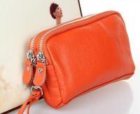 2014 new leather key cases, double zipper mini-women wallet,cow split handbag for girl  L1006