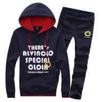 2014 Autumn hot-selling new arrival fashion male plus velvet fleece inside sweatshirt outerwear set shirt 10025 size M-3XL