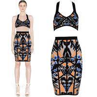 2014 New Colour Print Women's HL Bandage Dress Two Pieces Strap Sexy Mini Dress Evening Party Dress Top Quality 100%