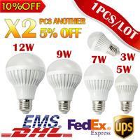 1pcs LED Bulb Lamp High quality E27 220V 3W/5W/7W/9W/12W SMD 5730 White/Warm White Bubble Ball Light