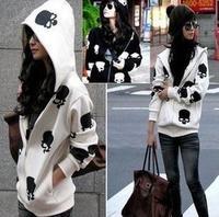 [R-428]   Free shipping 2014 Women's skull print hoodies casual loose hooded skull zipper fleece cardigan sweater