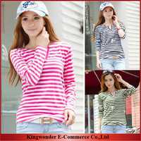 Free Shipping Wholesale Spring Autumn Women Base T Shirt Ladies Patchwork Hollow out Striped Slim Long Sleeve T-shirt TS002