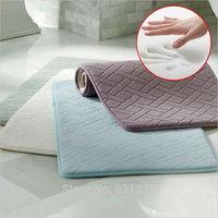 Free shipping 50cm * 80cm slow rebound diamond checkered carpet, coral velvet absorbent non-slip mats.