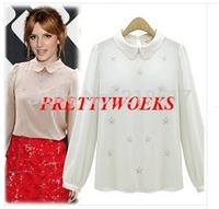 Free Shipping Brand New autumn winter women doll collar chiffon shirt casual shirt long-sleeved shirt women blouse F-0255