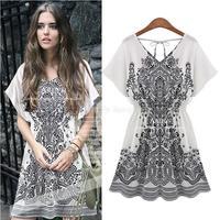 XXXL,4XL,5XL 2014 Summer Women New Big Flower Elastic Loose V-neck conjuntos Dress for sobretudo feminino