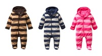 New Winter Baby Romper Classic Striped Warm Thick Cotton-Padding Infant One-Piece Jumpsuit 6pcs/lot