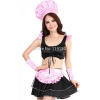 Sexy Waitress of Western Restaurant Black Polyester Women's Halloween Costume
