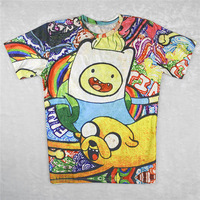 Alisister fashion women 2014 cartoon t shirt Adventure Time Dog printed 3d unisex character t-shirts roupas femininas sale