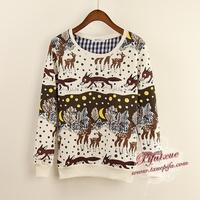 2014 New winter fashion hoody Animal fox printing women's hoodies Loose women fleece Sweater 4 color