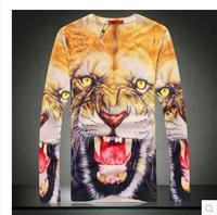 3D Printing Brand Men's T-shirts 2014 Autumn V-Neck Fashion Man T-shirt Printed Tiger Fashion Tees For Men 8.19 On Sale