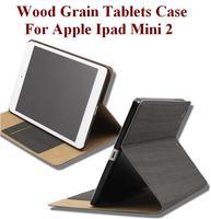 Wood Grain Folding Folio Case For Apple Ipad mini 2 with Sleep/Awake Function Ultrathin Fashion Cozy Four Colors Free Shipping
