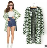 New 2014 Winter Women Sweater Geometry Pattern Women's Sweaters Slim Long Sleeve Female Cardigan European Knitwear Outerwear