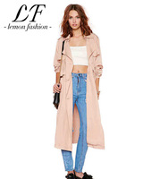 New Women Casual Autumn Long Detachable Trench with Double Breast