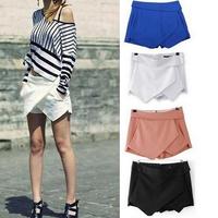 SZ101 2015 Summer Ladies Asymmetrical Geometric Shape Tiered Shorts Women's Candy Casual Trousers Culottes Zipper Shorts S&Z