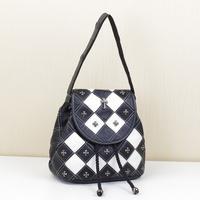 2014 New Women Cowhide Genuine Leather Handbag Fashion Rivet Patchwork Shoulder Messenger Bag Backpack Free Shipping