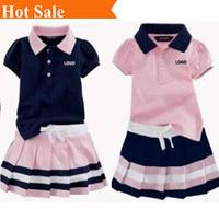 2013 New brand baby girls high quality short sleeve T shirt Set mini skirt Set sports suit chlild clothing