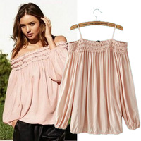 2014 new summer autumn women's fashion style spaghetti strap pink lantern nvoelty T-shirt  sexy blouse high street