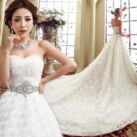 Luxury trailing wedding dress 2014 New Arrival high quality crystal lace princess bandage white strapless lacing wedding dress