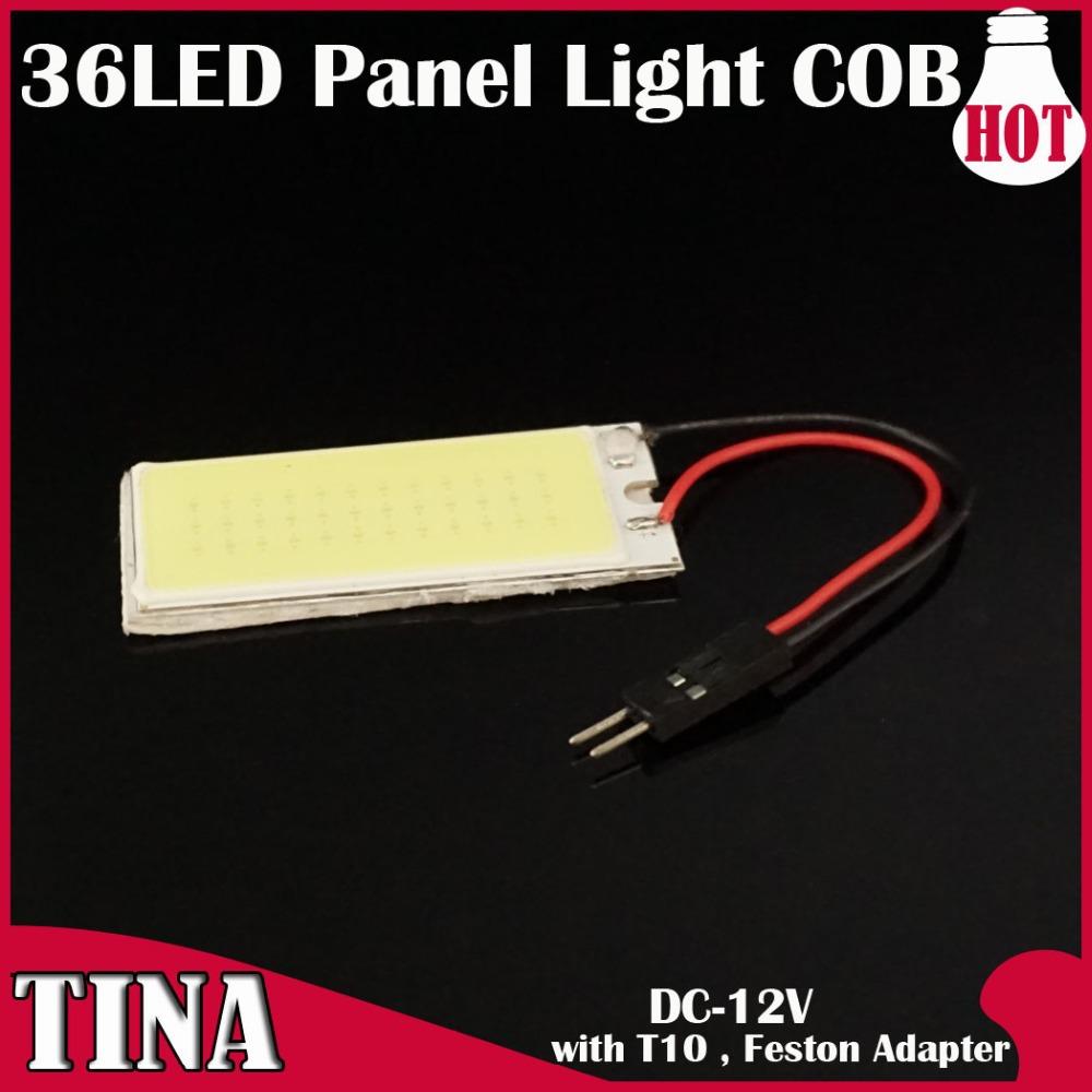 2 x 5W T10 COB Chip 36 LED Dome Festoon Lamp White Light Panel Interior T10 / FESTOON Adapter Car Led Panels Bulb(China (Mainland))