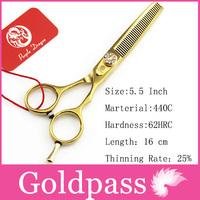 Hair Scissors Pro 5.5 Inch JP440C Hot Gold Thinning  Scissor Purple Dragon Hairdresser Shears Clipper Hairdressing  styling tool