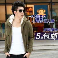 Kama Semir version lambs wool men's autumn and winter coat jacket hooded jacket padded jacket male student influx