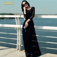 2014 Autumn fashion vintage lace dress long sleeve long black lace dress plus size O-neck women's floor length dress