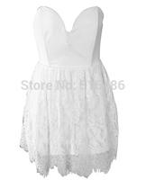 New Summer Dress 2014 Women white cute bust wrap school mini dress graduation party nightclub dress free shipping