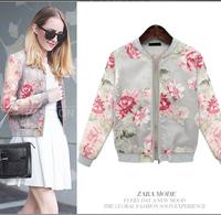 2014 Women Coats And Jackets Women's Fashion Flower Printed Causal Coat Women Coat Outwear Women Jacket Autumn Female AS1452