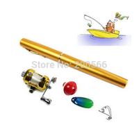 Telescopic Mini Fishing Rod Pen Shape Portable Pocket Aluminum Alloy Fishing Spinning Rod Pole With Ree