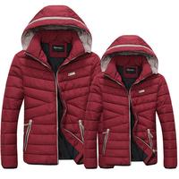 New 2014 Men Cotton Padded Jacket Winter Outdoors Parka Jaqueta Masculina Hooded Zipper Clothing Causal Red Black Coat S-XXL