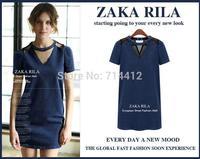 2104 new summer European style round neck short sleeve denim skirt chiffon dress sexy hollow Size S-2XL