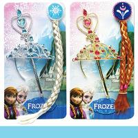 Retail Anna Elsa Toy  Frozen Ornament  Rhinestone Crown Elsa Magic Wand  Anna Girls Wig children party Cosplay accessories
