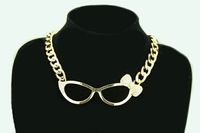 2014 New Fashion High Quality Hip Hop Crystal Bowknot Glasses Collar Necklace Alloy Chain Necklace Jewelry Product for Women