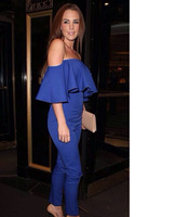 2014 Sale New Arrival Ruffles Regular Shipping Fashion Sexy Brooke Jumpsuit And Color Rompers Strapless Wave Piece Pants