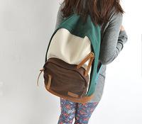 Preppy School wind canvas shoulder bag Korean college students travel bag lady fashion trend backpack junior high school
