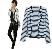 NEW 2014 Spring Fashion Women Elegant Slim Suit Casual White Black Striped Blazers Ladies Fashion Cardigans Suit Jacket SY0631